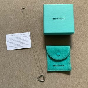 Tiffany & Co Slanted Sterling Silver Heart Necklac